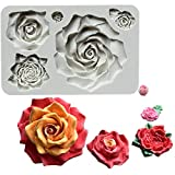 Wootkey 5 Sizes Rose Fondant Silicone Mold for Sugarcraft, Cake Border Decoration, Cupcake Topper, Polymer Clay, Crafting Moulds