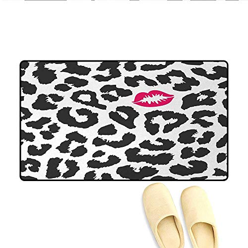Bath Mat,Leopard Cheetah Animal Print with Kiss Shape Lipstick Mark Dotted Trend Art,Doormats for Inside Non Slip Backing,Charcoal Grey Pink,Size:24