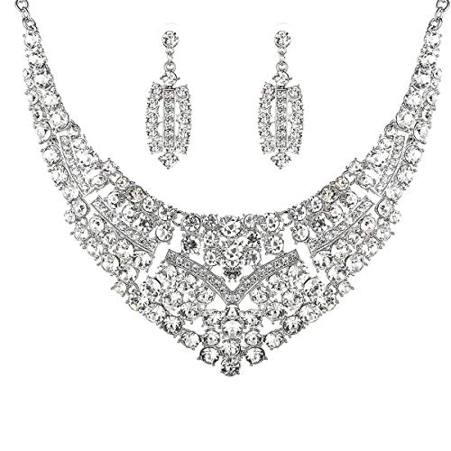 Bridal Party Jewelry Gifts - Women Bridal Austrian Crystal Necklace Teardrop Earrings Jewelry Set Gifts fit with Party Wedding Dress
