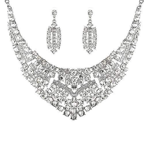 Women Bridal Austrian Crystal Necklace Teardrop Earrings Jewelry Set Gifts fit with Party Wedding Dress