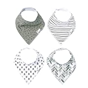 """Baby Bandana Drool Bibs for Drooling and Teething 4 Pack Gift Set Unisex Monochrome  Alta"""" by Copper Pearl"""