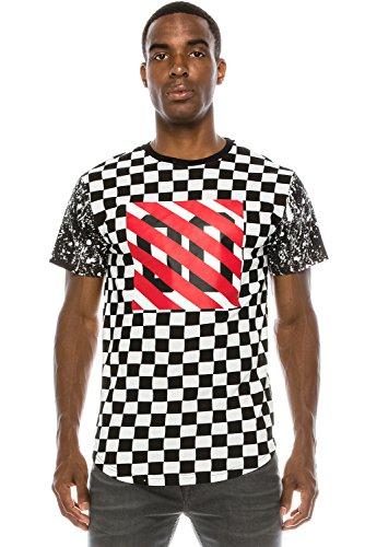 Racer White Checker - JC DISTRO Mens Hipster Hip Hop All-Over Checker Print Racer Print White T-Shirt M