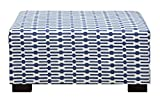 Poundex Bobkona Conway Ottoman with Stripe Pattern, Blue For Sale
