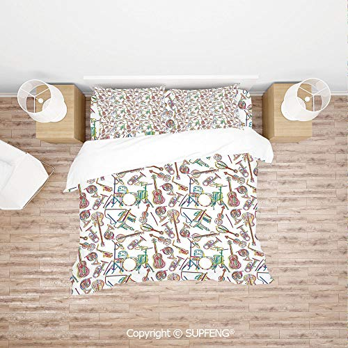 SCOXIXI 3D Bedding Sets Colorful Stylized Illustration of Modern Music Patterns Collection Punk Pop Violin Decor (Comforter Not Included) Soft, Breathable, Hypoallergenic, Fade Resistant