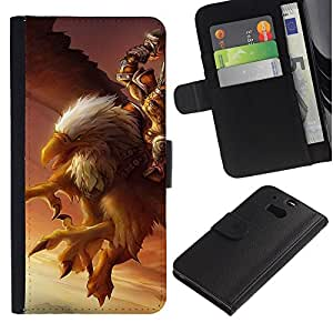 Estuche de Cuero Billetera del tirón Tarjeta de la Bolsa Titular de Suave Caso para HTC One M8 / CECELL Phone case / / Eagle Pc Game Mystery Gamer Giant Bird /