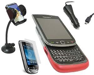 iTALKonline CAR DRIVE PACK ROJO & CLARO TRANSPARENTE ADVANCED ELITE 2 TONOS Hard Soft Case y la piel cubierta de LCD Protector de pantalla, 12/24V Cargador de coche, en el soporte de parabrisas de coches de succión para BlackBerry 9800 9810 Torch