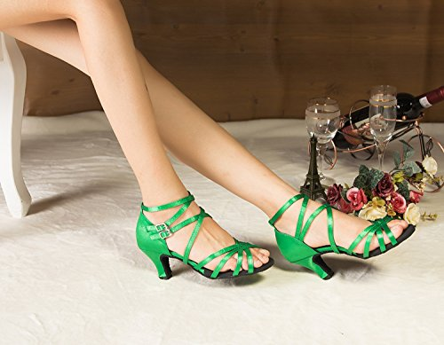 Damen Ankle Minitoo Wrap Med Dance Shoes Pumps-Satin Verde (verde)
