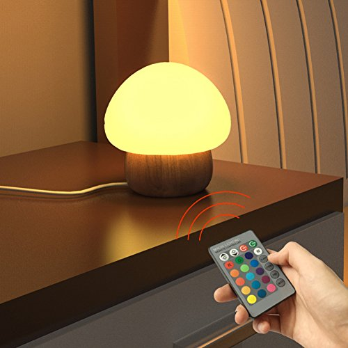 Lighting (ANGTUO Night Light LED Mushroom Lamp Silicone with Wireless Remote Control 16 Different Color for Kid)