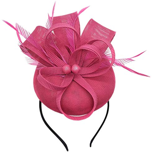 Biruil Women's Fascinator Hat Imitation Sinamay Feather Tea Party Pillbox Flower Derby (Rose Red)