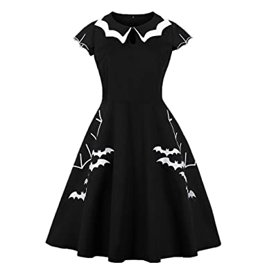 b789b8ce6ce1 Wellwits Womens Plus Size Bat Spider Web Embroidery Halloween Vintage Dress,Black  and White,