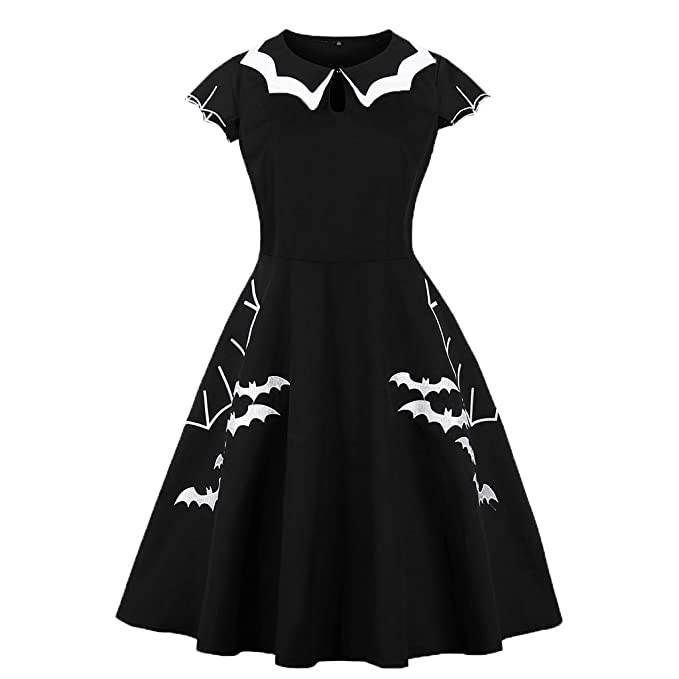Wellwits Womens Plus Size Bat Spider Web Embroidery Halloween Vintage Dress,Black and White,14-16 Plus