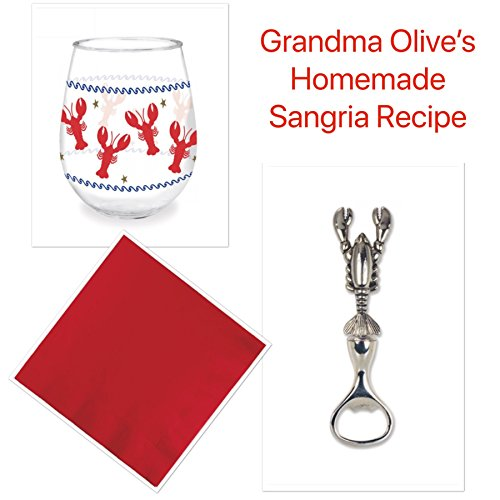 Celebrate The Crab Gift Bundle: 16 ounce Crab-Themed Stemless Wine Glass with Crab-Shaped Metal Bottle Opener and Matching Napkins + Bonus Grandma Olive Homemade Sangria Recipe (Wine Sangria Recipes)