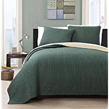 Wholesalebeddings Coverlet King Size Olive with Gold reversible Embroidered 3pc Quilt Set
