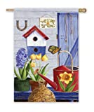 Cheap Welcome Spring Birdhouse Bee Hive Large Flag