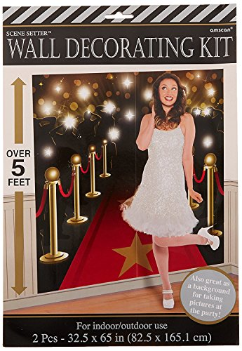 Amscan Movie Night Hollywood Themed Party Down the Red Carpet Scene Setters Wall Decorating Kit, Vinyl, 65 Inches x 32 Feet, Pack of 4 -