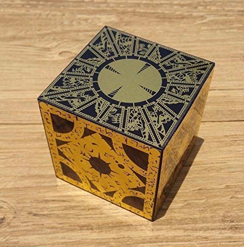 Solid Wood Hellraiser Puzzle Box Cube with Foil Face Designs Full Size Non Working Lament Configuration Pinhead Toy Maker