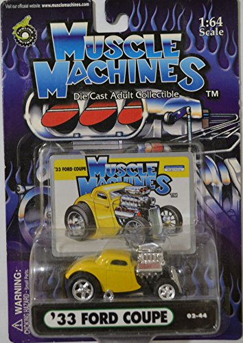 Yellow 33 Ford Coupe American Muscle Machines Series 1:64 Scale Collectible Die Cast Model Car