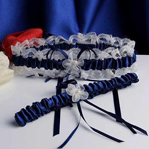 Merya dress lace wedding garters for bride pearl stretch for Garter under wedding dress