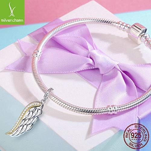 FidgetFidget Authentic 925 Silver /& Gold Feather Wing Dangle Charm Beads fit Charm Bracelets