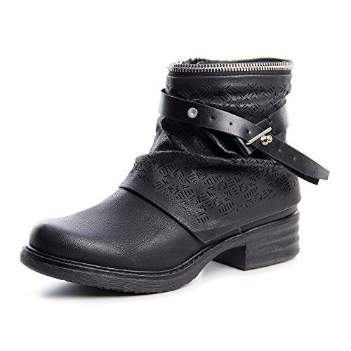 nbsp;678 Bottines Noir Pour nbsp;femme Femme Biker Topschuhe24 Boots vSB1cWW