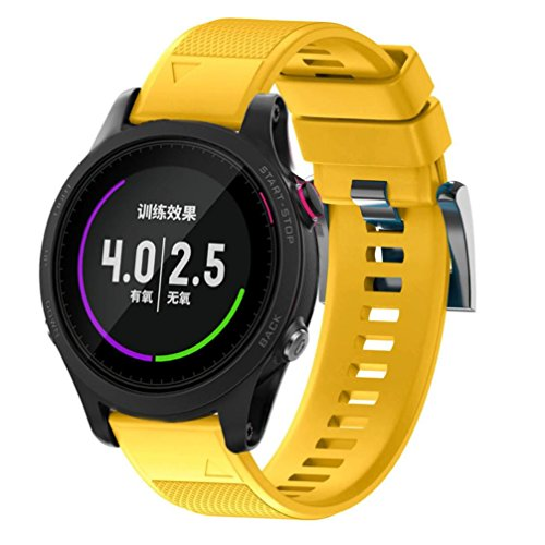 GBSELL Replacement Soft Quick Release Kit Band Strap For Garmin Forerunner 935 GPS Watch (Yellow)