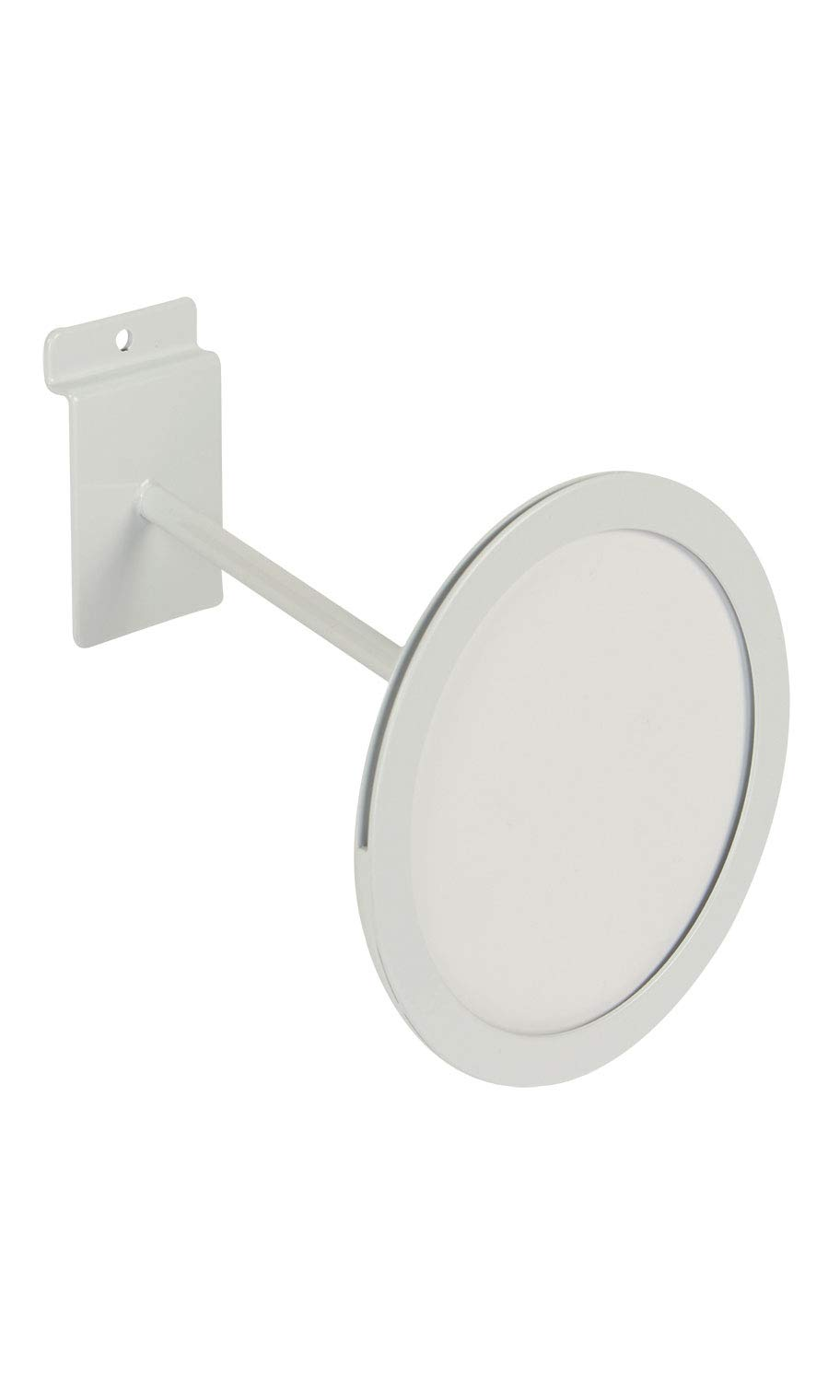 Circular White Faceout Sign Holder for Slatwall - Holds 5 1/2'' Diameter Signs