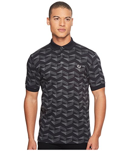 Fred Perry Men's Graphic Jacquard Pique Shirt, Black, - Perry Pique Fred Black