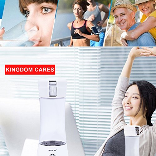 KINGDOMBEAUTY Portable Hydrogen Transparent Water Bottle Cup Recharge Hydrogen Rich Water Ionizer Maker Generator Large Capacity Battery Light Healthy Water Purifier Filter Treatment