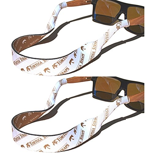 Tortuga Straps FLOATZ Sports Fit Glasses Strap, Coconut White - 2 Pk | Floating Adjustable Sunglass Straps | Soft & Comfortable Dual Sided Fabric | 3MM Neoprene Base - Added Durability | Easy Fit ()
