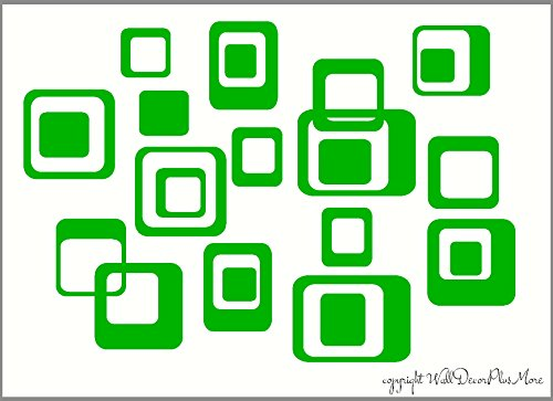 Wall Decor Plus More WDPM134 6-Inch and Smaller Funky Wall R/Squares Vinyl Sticker Decals, Lime Green, 20-Piece