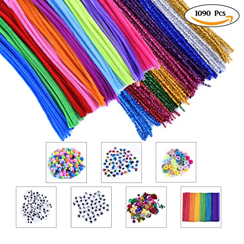 Kids Art & Craft Supplies Assortment Set for School Projects, DIY Activities & Parties, Includes Pipe Cleaners/Chenile, Pom Poms, Googly Eyes, Craft Sticks, Buttons & Sequins (Pack of 1090) by EpiqueO by Epique Occasions