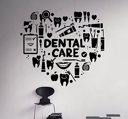 Interior Home Decor (Dental Care Wall Decal Dentist Medical Vinyl Sticker Home Decor Ideas Bathroom Interior Removable Wall Art 9(dtl))