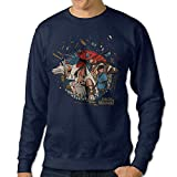 FHFHQ Men's Crew Neck Sweater Princess Cartoon Movie Mononoke Navy Size S