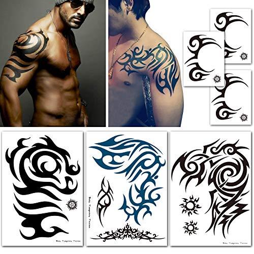 Leoars Tribal Temporary Tattoo Stickers, Extra Large Totem Shoulder Tattoos, Fake Face Tattoos Makeup Set for Men Guys, 6-Sheet (Best Shoulder Tattoos For Men)