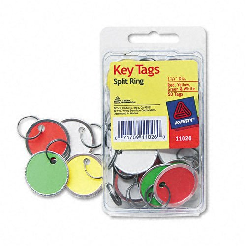 Avery Metal Tags (Avery : Metal Rim Key Tags, Card Stock/Metal, Green/Red/Yellow/White, 50 per Pack -:- Sold as 2 Packs of - 50 - / - Total of 100 Each)