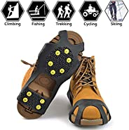 Steel Ice Cleats,True Stainless Steel Ice Grips Traction Cleats Non-Slip Over Shoe Rubber Boot Traction Stretc
