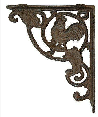 Rust Cast Iron Rooster Shelf Bracket Set Of 2