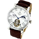 [Fortuna] Mechanical Automatic Watches Hand-rolled Sun and Moon Skeleton Italian Leather Strap Mens Business Casual Luxury Men's