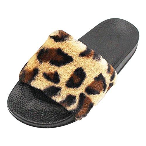 Flip Flop Beds - Overmal 2018 Womens Ladies Sliders Leopard Fluffy Faux Fur Flat Slipper Flip Flop Sandal