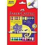 Canetinha Hidrográfica Bicolor, Faber-Castell, 15.0612N, 12 Canetas/24 Cores
