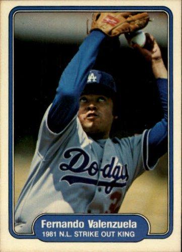 (1982 Fleer #636 Fernando Valenzuela 1981 N.L. Strike Out King Baseball Card)