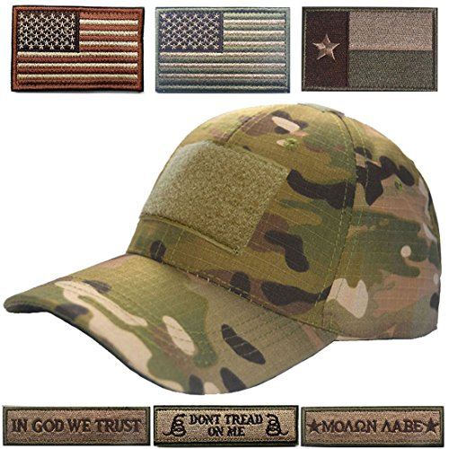 Lightbird Tactical Hat Bundle, Adjustable Operator Hat 6 Pcs Tactical Velcro Patches, Durable Tactical OCP Ball Cap Hat Men Work, Gym, Hiking More (Multicam Hat)