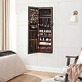 SONGMICS 6 LEDs Mirror Jewelry Cabinet Lockable