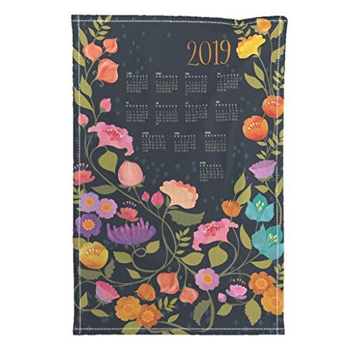 Roostery 2019 Tea Towel Calendar Floral Flowers Garden by Ceciliamok Special Edition Linen Cotton Tea Towel