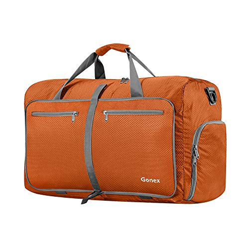 Gonex 40L Packable Travel Duffle Bag for Boarding Airline, Lightweight Gym Duffle Water Repellent & Tear Resistant - Orange Airplanes
