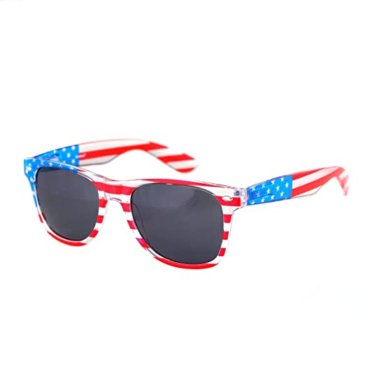 8a2128b9c08e Shaderz Clear American America USA Flag Sunglasses Frame Retro 80 s Dark  Lenses