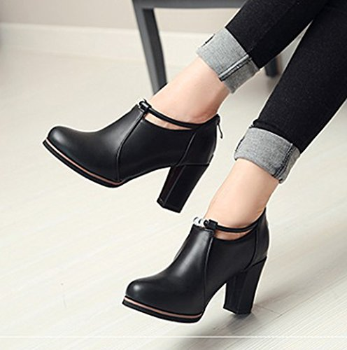Aisun Womens Trendy Comfy High Block Heel Cutout Dressy Back Zip Up Round Toe Booties Pumps Shoes Black sJKcD12n24