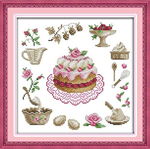 LovetheFamily クロスステッチキット DIY 手作り刺繍キット 正確な図柄印刷クロスステッチ 家庭刺繍装飾品 11CT ( インチ当たり11個の小さな格子)中程度の格子 刺しゅうキット フレームがない - 37×37 cm 誕生日ケーキ