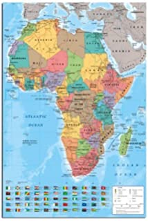 Maxi Modern Map of Africa with Flags, Wall Chart, Poster Sized 59 x ...