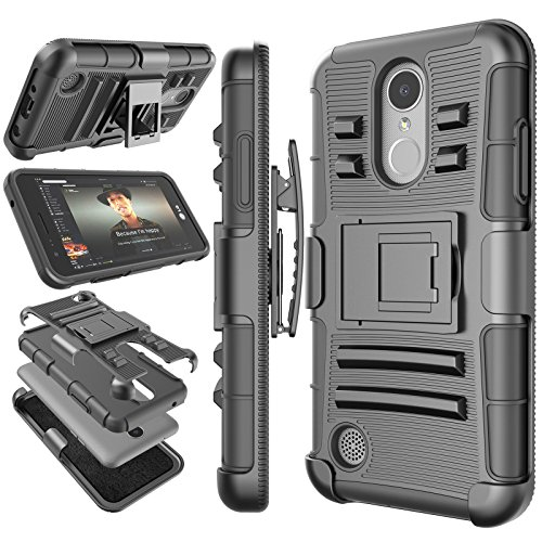 LG Phoenix 3 Case, LG Fortune/LG LV1 / Risio 2 / K4 2017 Holster Clip, Tekcoo [Hoplite] Shock Absorbing [Black] Swivel Locking Belt Defender Full Body Kickstand Carrying Armor Cases Cover